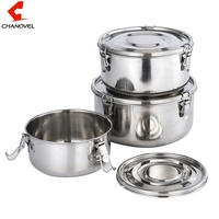 3 in 1 Bento Lunch Box 304 Stainless Steel Food Storage Containers Leak-Proof