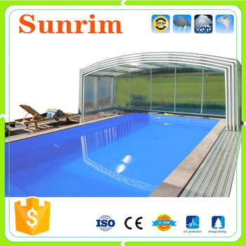 Plastic polycarbonate flat roof shelter swimming pool for Plexiglass pool enclosure