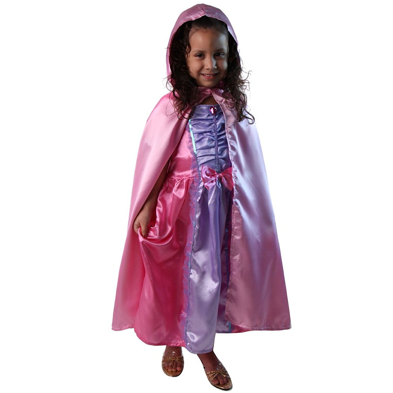 "Girls 28"" Pink Satin Princess Hooded Cape"