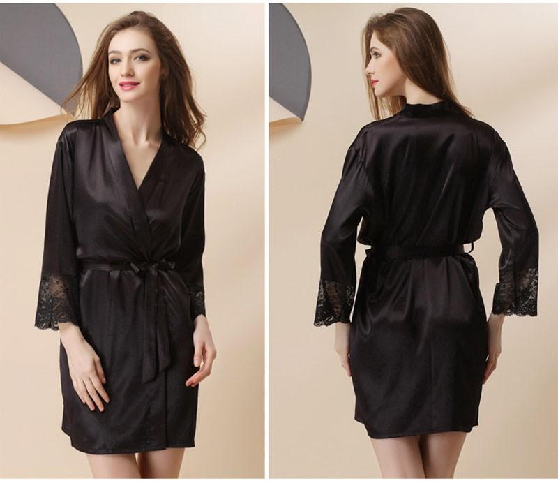 18f52151d2 2019 Wholesale Plus Size Sexy Satin Robe For Women Sexiest Lingerie ...