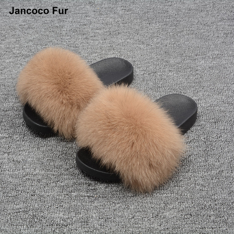 Hot Sale Spring Summer Autumn Winter Slippers Women Outdoor Indoor Sandal Real Fox Fur Slides