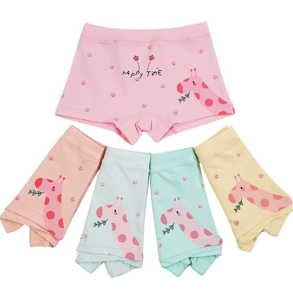 BOOPH Girls Underwear, 5-Pack Giraffe Panties Set Baby Toddler Briefs Boyshort for Little Girl 2-6T