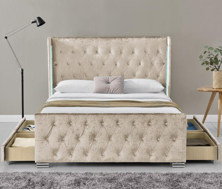 new style cb362 bb37e Tall Headboard Velvet Fabric Storage Led Bed - Buy Upholstered Storage  Bed,Modern Storage Bed,Under The Bed Storage Drawers Product on Alibaba.com
