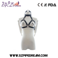 leather harness belt neck collar moth gag ring nipple clamps bdsm fetish bondage restraints breast clips