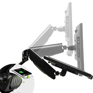 """Fleximounts Full motion Lcd arm desk mount for 10""""~24"""" Samsung/Dell/Asus/Acer/HP Computer monitor with Swivel Gas Spring arm and Anion"""