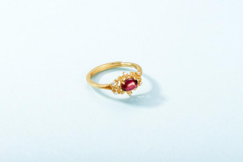 Vintage elegant women gemstone jewelry, 925 silver art deco oval gold garnet ring