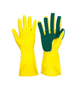 Gloves latex with scouring pad waterproof 2in 1 dish washing household cleaning sponge gloves