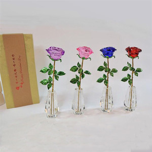 Exquisite crystal rose favors Valentine's Day gifts glass rose for wedding