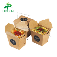 alibaba golden supplier custom logo print fast food take away noodle rice lunch packing brown kraft food box with iron handle