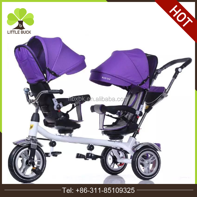 High-end kids two seat baby twins trike children tricycle Metal frame 4 in 1 double seat children tricycle