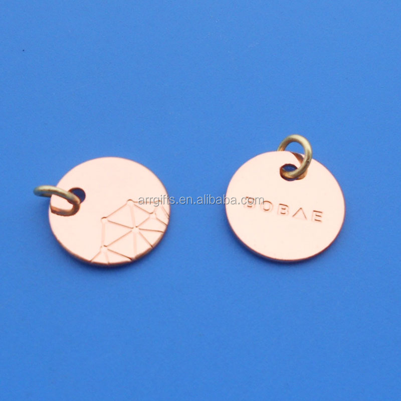 disc rose gold plated metal hang tag jewelry pendant engraved with brand logo