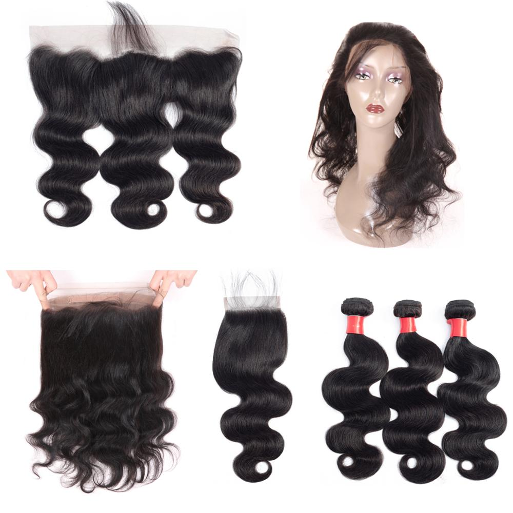8a Grade 360 Lace Frontal Closure With Bundles Brazilian Virgin Hair Body Wave Natural Color 100% Remy Human Hair