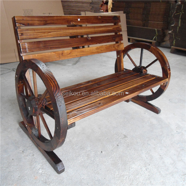 Outdoor Chinese Style Wooden Garden Wagon Wheel Bench