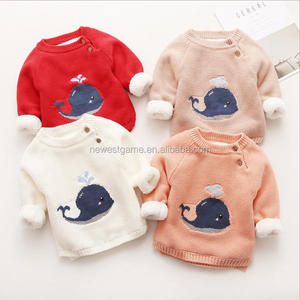 Promotional Baby fleece thickened sweater coat Korean version round-neck pullover sweater for children