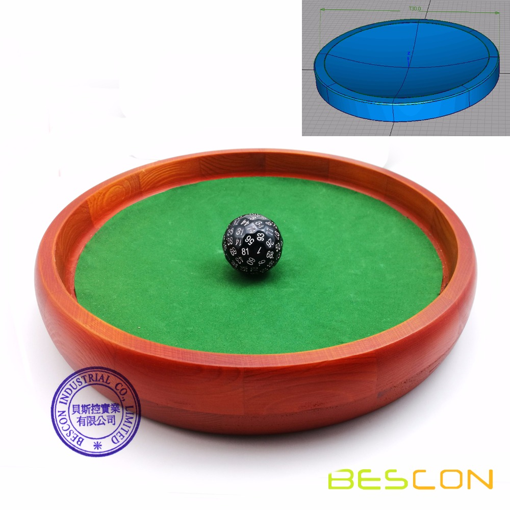 Conical Bottom 12inch Heavy Duty Wooden Dice Tray by BESCON Super Rolling Device to Stop Polyhedral Dice Optional Velvet Sticker фото