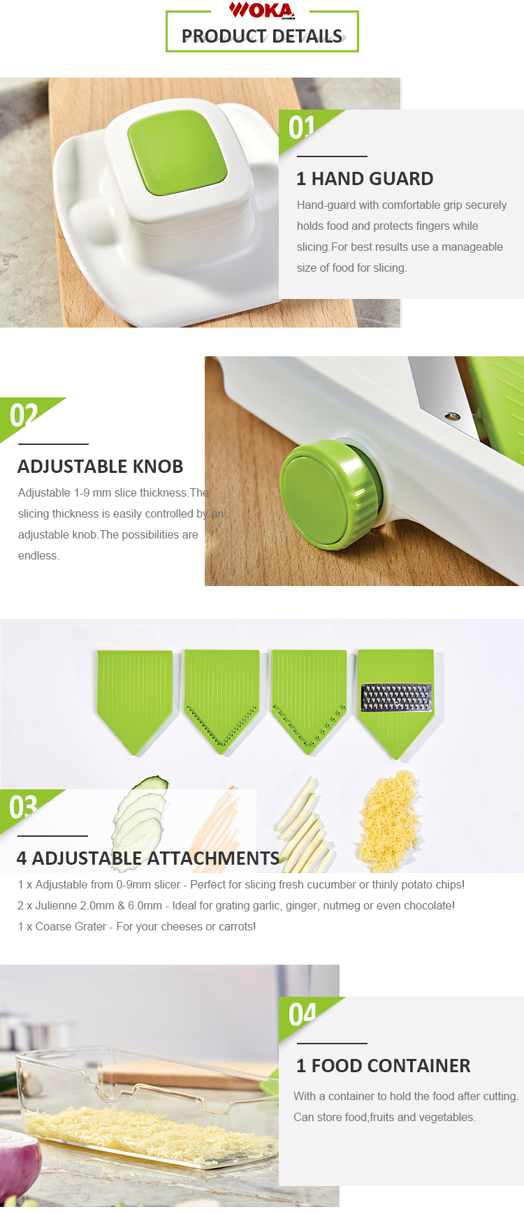 Wholesale plastic adjustable v blade food vegetable grater with storage