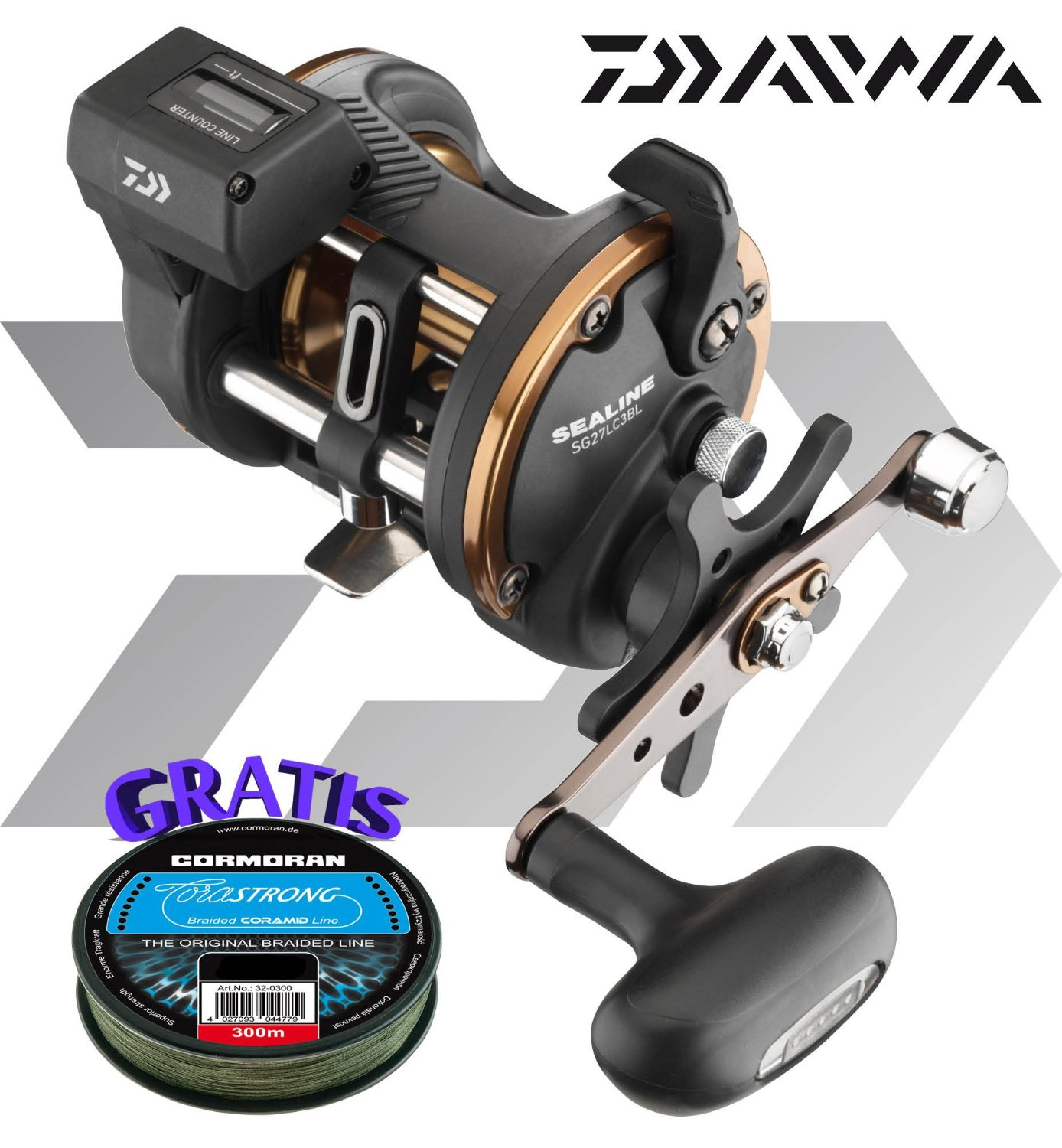 90eb45fbd9c Get Quotations · Daiwa Sealine SG 47LC3BL - Multiplier reel left hand with  Linecounter + braided line