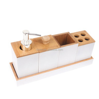 Supply Bamboo Bathroom Accessories Bath Caddy Set Includes Pump Soap Dispenser, Toothebrush Holder