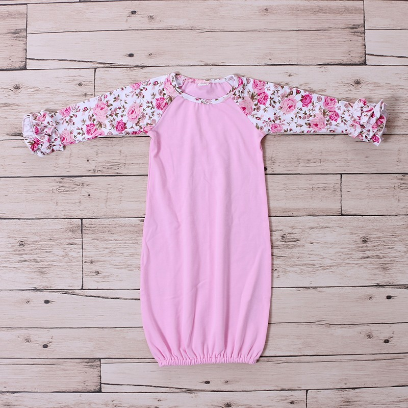 Flower Prints Pink Baby Soft Cotton Sleep Night Suits Baby Gown Ruffle Sleeves