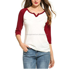 High Quality Custom 3/4 Raglan Sleeve Contrast Color Spliced Tops Blouse Women Baseball T Shirt