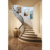 Wooden Modern Stair With Stainless Steel Railing