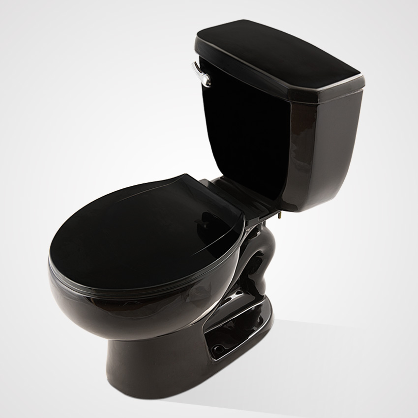 China Ceramic Water Closet, Cycle Flush Two Piece Toilet black