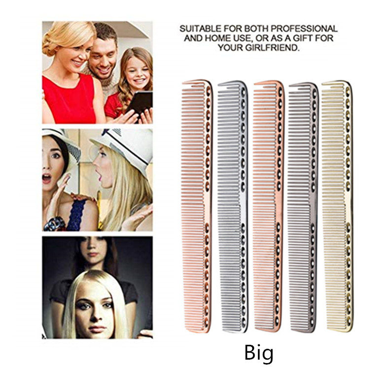 Stainless Steel Hair Comb Hairdressing Steel Comb Hair Cutting Metal Comb Long Handle