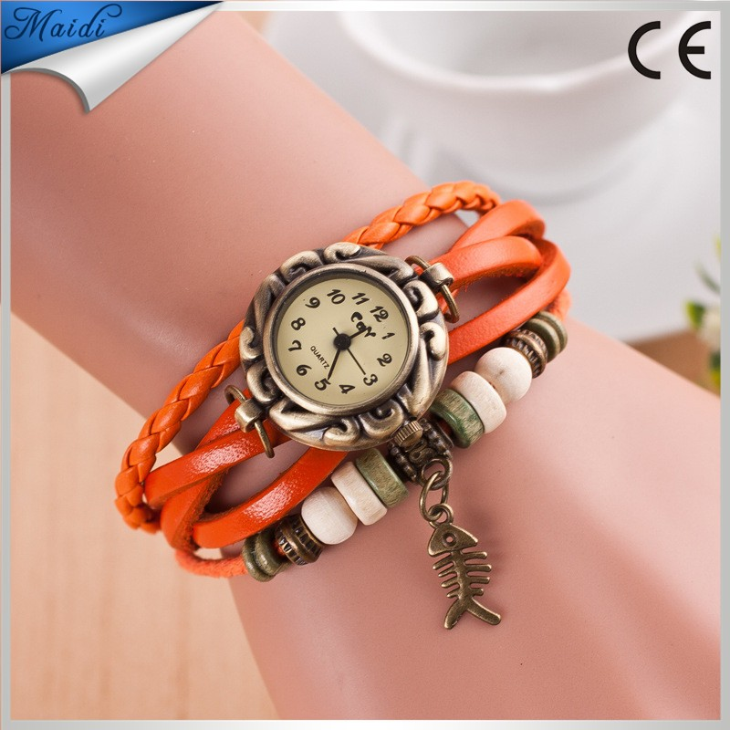 New Good Quality Fashion Woman Fishbone Decoration Wristwatch Sea Nature Style Bracelets Vintage Watches VW020