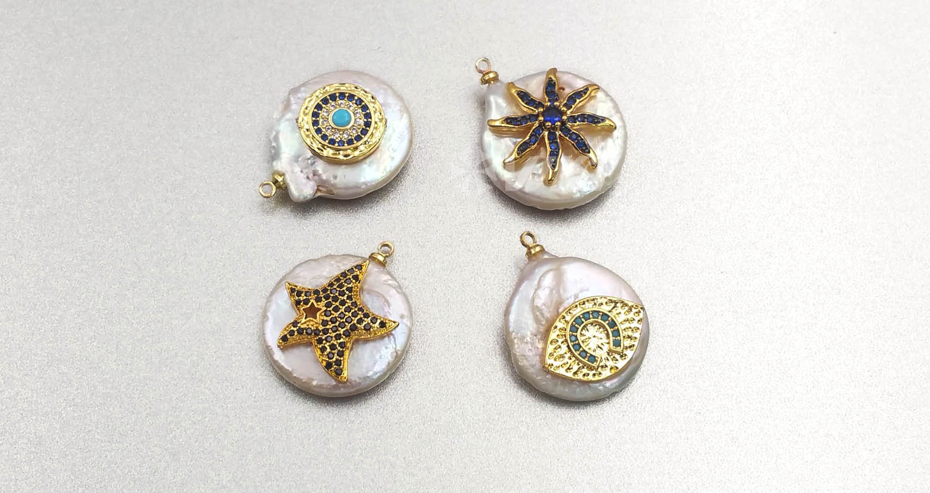 MP131 wholesale populared starfish multi-pattern pearl with cz micro pave pendant women fashion jewelry circular pearl pendant
