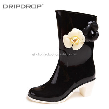 Wholesale Fashion fancy ladies waterproof sunflower rain boots ...