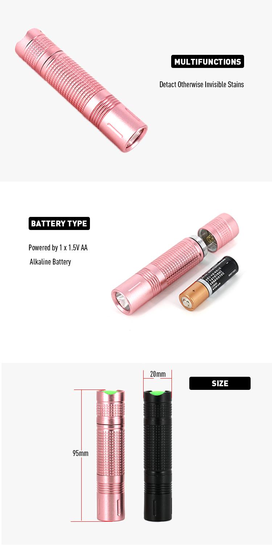Promotional Metal 1 AA Battery Powerful Small Torch Light Bulk LED UV Flashlights 365NM