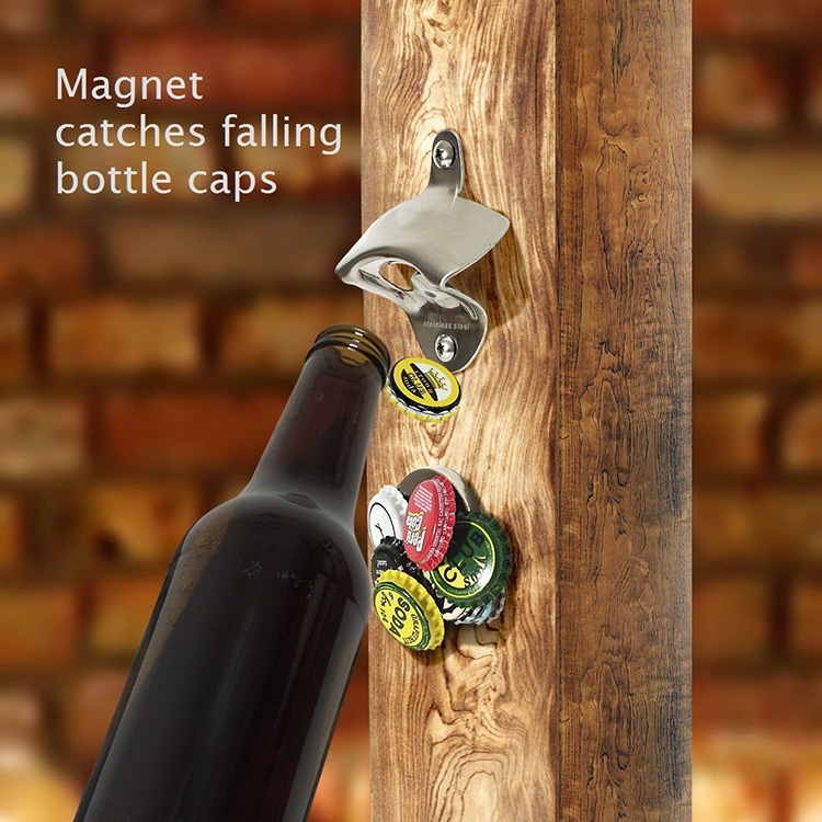 Wall Mount Blank Bottle Opener with Magnetic Cap Catcher