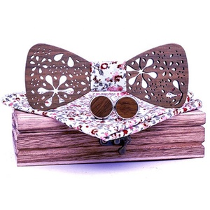 Novelty openwork eco friendly luxury self tie wooden bow tie
