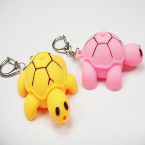 animal shaped turtle/ tortoise keychain with sound and flashlight