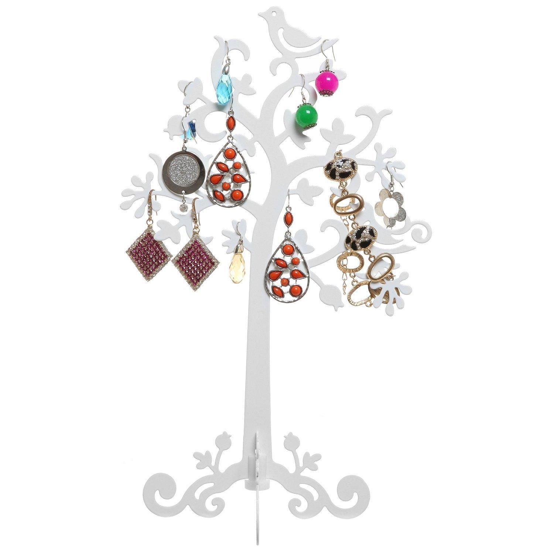 Metal Tree w/ Birds Design Jewelry Storage Hanger / Dresser Top Earring Organizer (White)