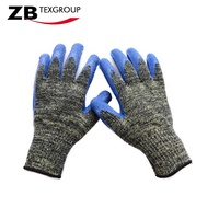CE Cotton with HPPE cut resistant level 3 latex coated hand protection anti cut gloves