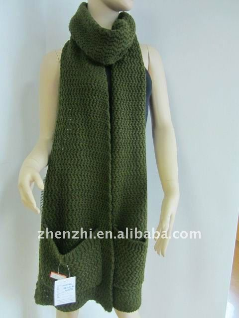 100% Acrylic Knitting Pattern Pocket Scarf