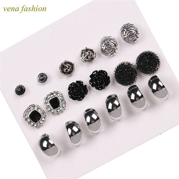 rose shaped cheap set black rose clip earring