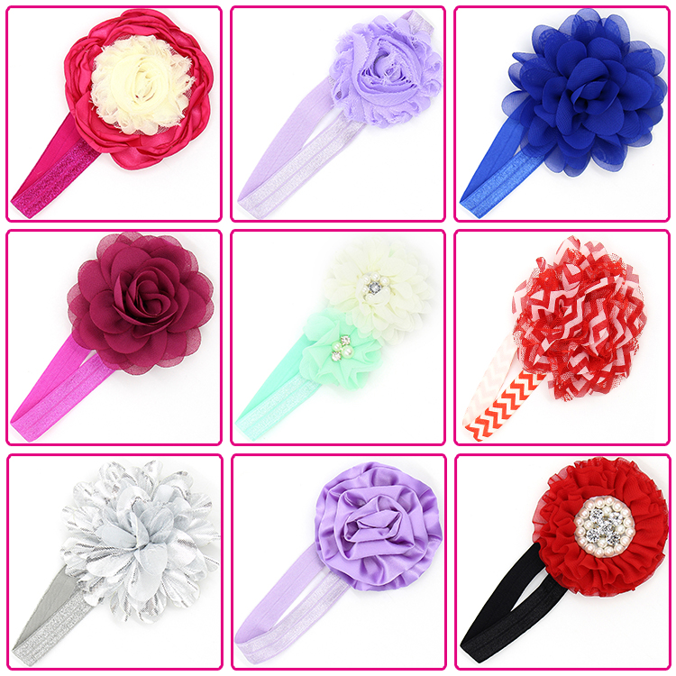 ecofriendly solid color fold over elastic blue flower stretch baby girl headbands