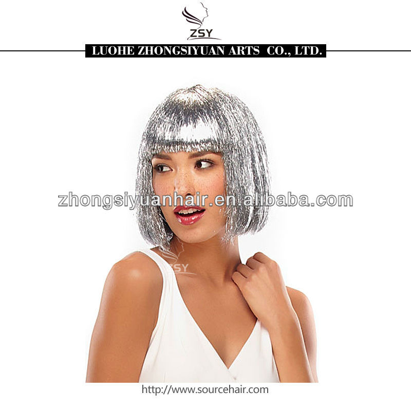 hot selling tinsel party wigs purple hair wigs
