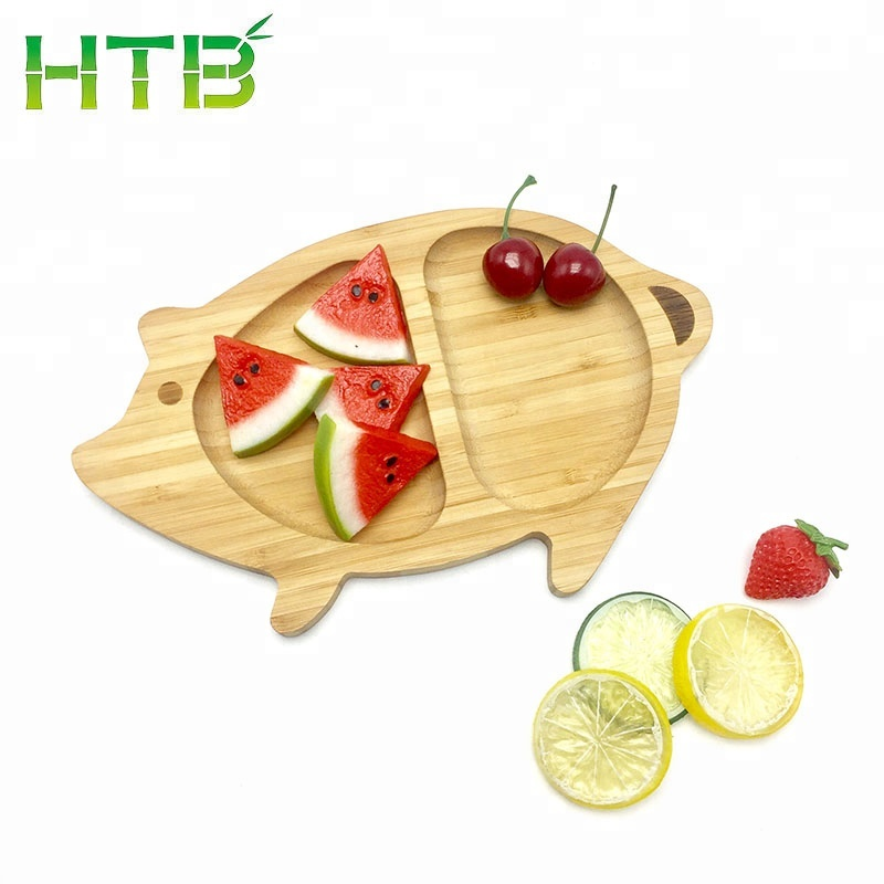 Pig Shape Bamboo Eating Plates Wooden Dining Dishes for breakfast, snack, candy