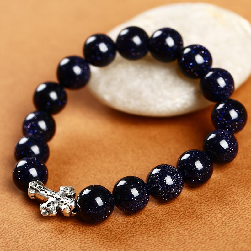 Натуральный камень агат тигровый глаз, Синий песчаник, Лава - каменный крест браслеты и браслет женская браслеты 10 мм бусины браслеты для мужчин