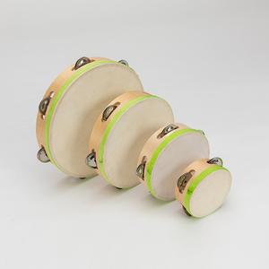 wholesale 6 inch Sheepskin hand-made wooden toy tambourine instruments for children