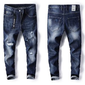 100% cotton jeans men slim fit ripped denim jeans pants 18 boy jeans fashion men's clothing summer trousers ma