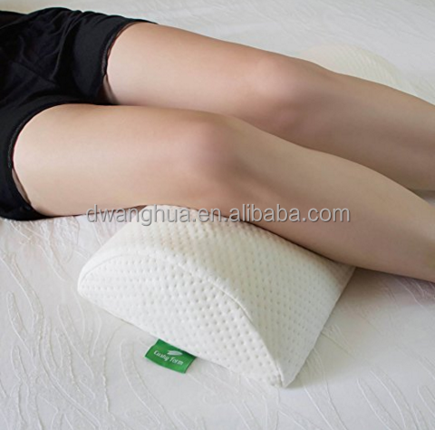Back Pain Relief Half-Moon Bolster / Wedge - Provides Best Support for Sleeping on Side or Back - Memory Foam Semi-Roll Pillow