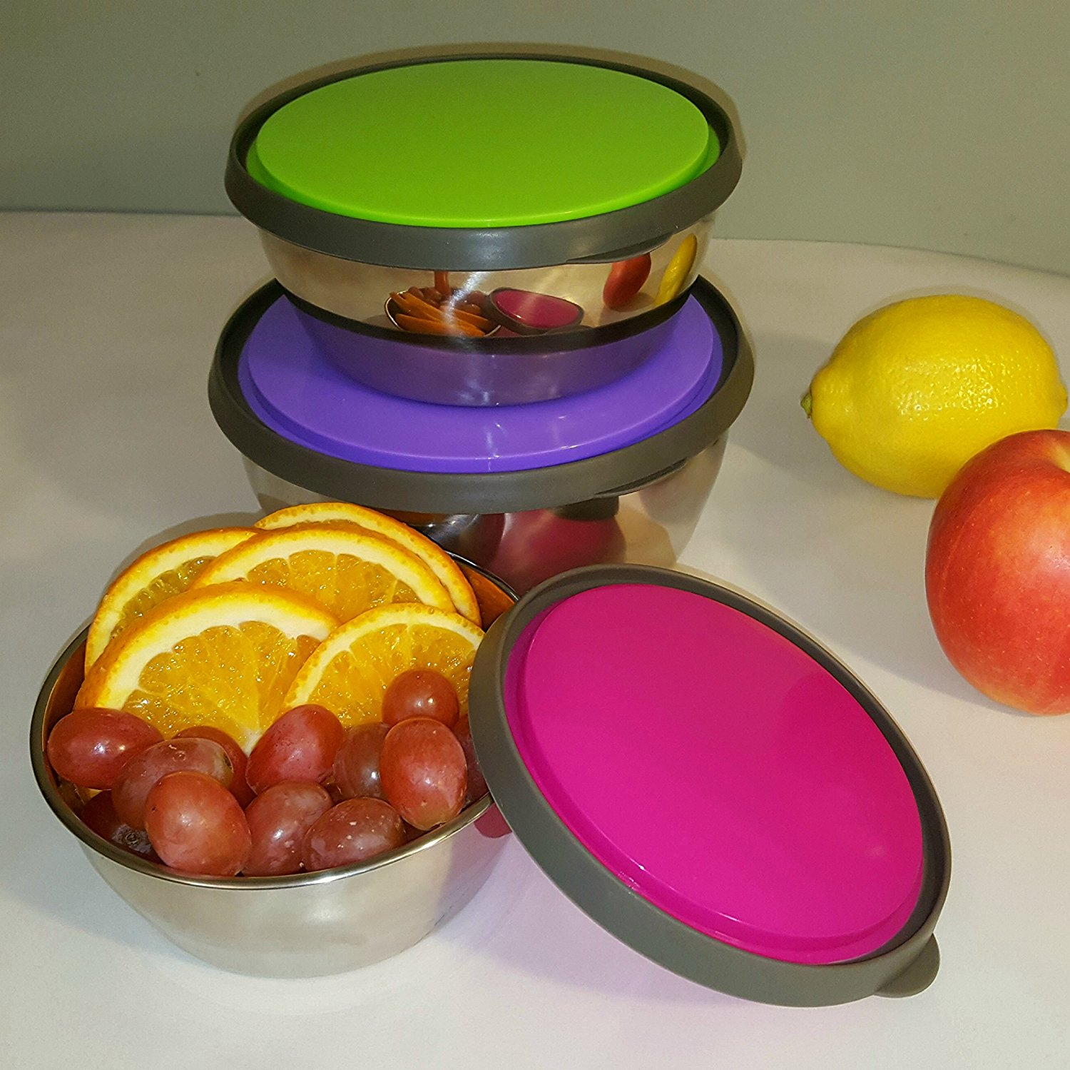 Free sample 3 in 1 stainless steel food storage box with lid for fresh preservation