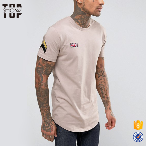 Clothing manufacturer patches embroidery t shirt zip sleeve mens t shirt curved hem