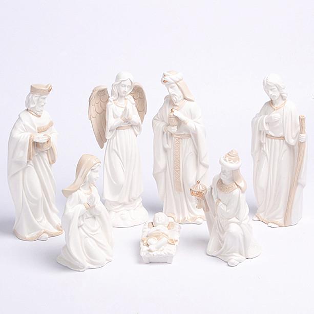 Branco da porcelana não vidrada cerâmica natividade artesanato escultura para a decoração da casa em Natal
