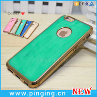 Luxury Soft TPU Plating Gold Frame inlaid Emerald Jade Stone Back Case Phone Cover For iPhone 6 6Plus