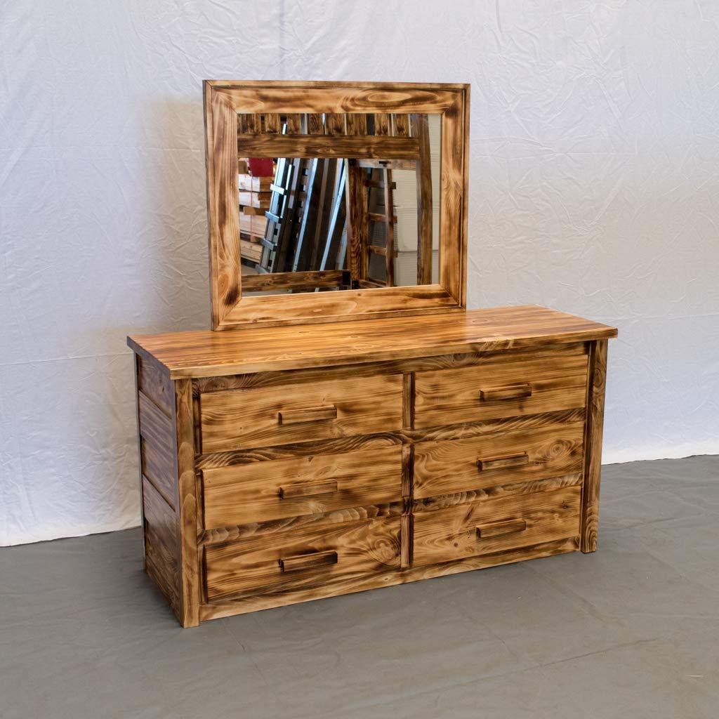 Torched Farmhouse 6 Drawer Dresser with Mirror/Wood Reclaimed Dresser/Modern / Urban/Cottage Dresser